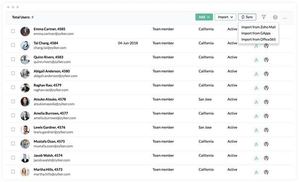 Zoho People Database van medewerkers